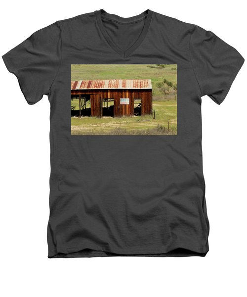 Men's V-Neck T-Shirt featuring the photograph Rustic Barn With Flag by Art Block Collections