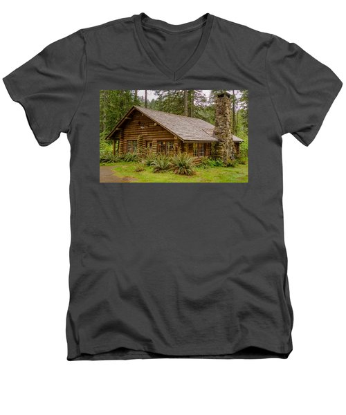 Men's V-Neck T-Shirt featuring the photograph Rustic Cabin by Jerry Cahill