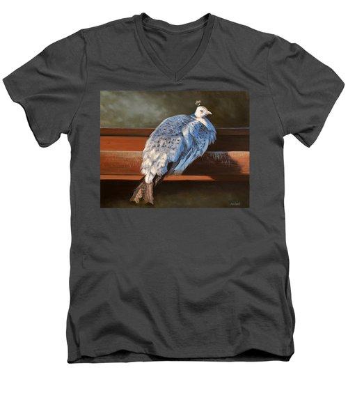 Rustic Elegance - White Peahen Men's V-Neck T-Shirt