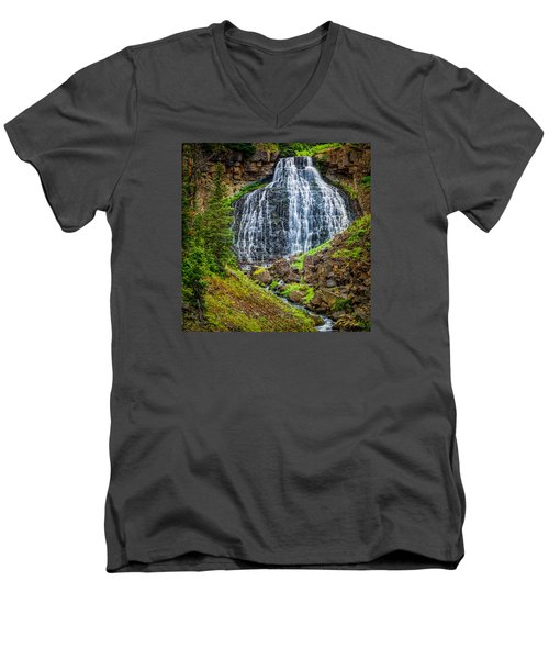 Men's V-Neck T-Shirt featuring the photograph Rustic Falls  by Rikk Flohr