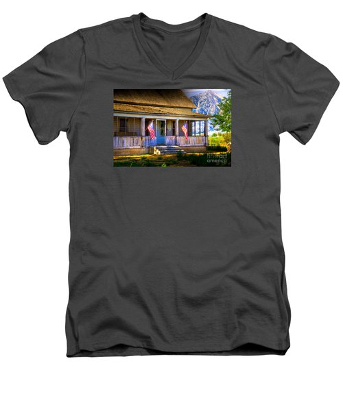 Men's V-Neck T-Shirt featuring the photograph Rustic Patriotic House by Kelly Wade