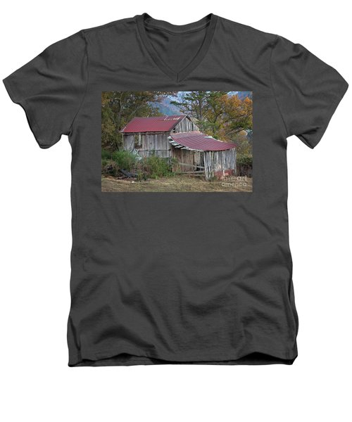Men's V-Neck T-Shirt featuring the photograph Rustic Weathered Hillside Barn by John Stephens