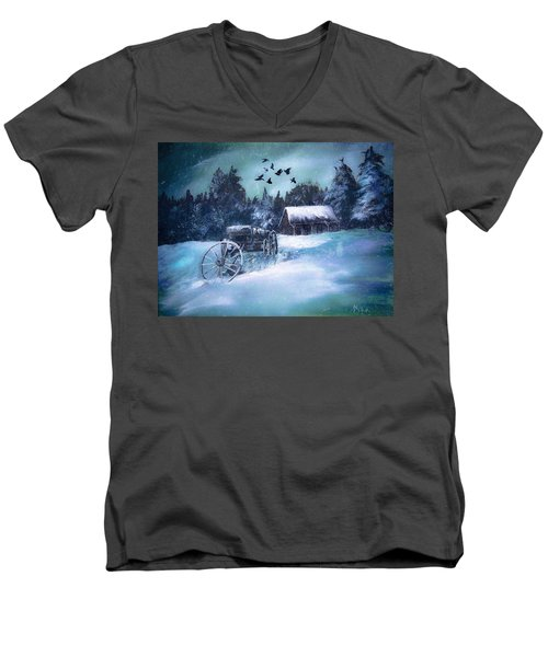 Rustic Winter Barn  Men's V-Neck T-Shirt by Michele Carter