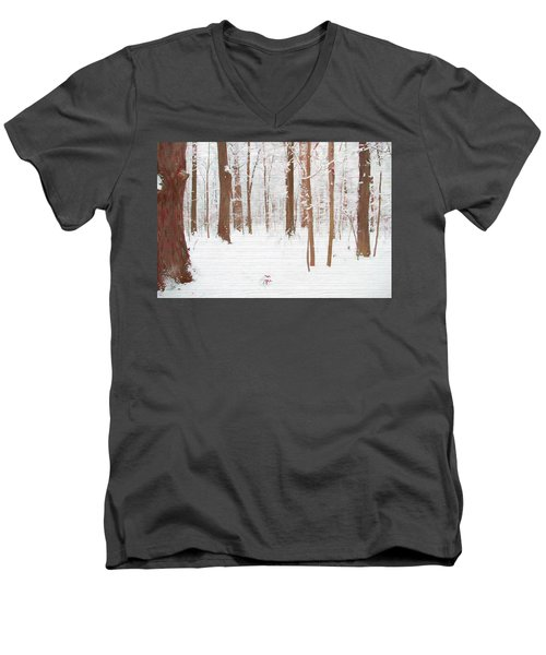 Rustic Winter Forest Men's V-Neck T-Shirt by Dan Sproul