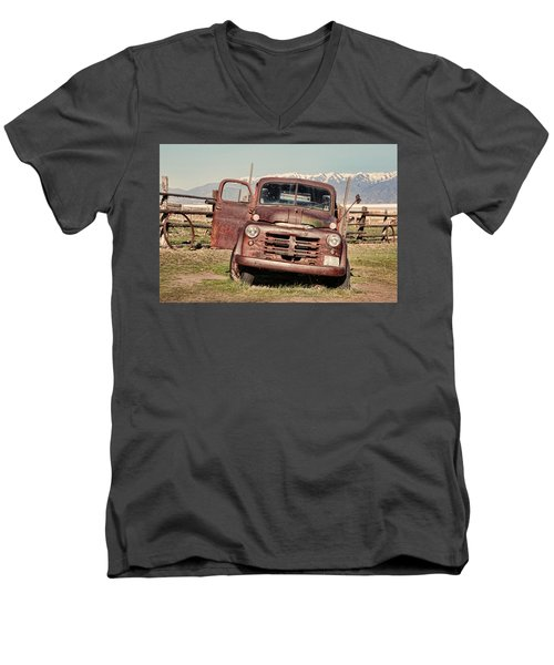 Men's V-Neck T-Shirt featuring the photograph Rusty Old Dodge by Ely Arsha