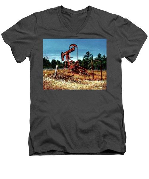 Rusty Pump Jack Men's V-Neck T-Shirt