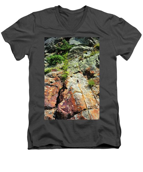 Rusty Rock Face Men's V-Neck T-Shirt