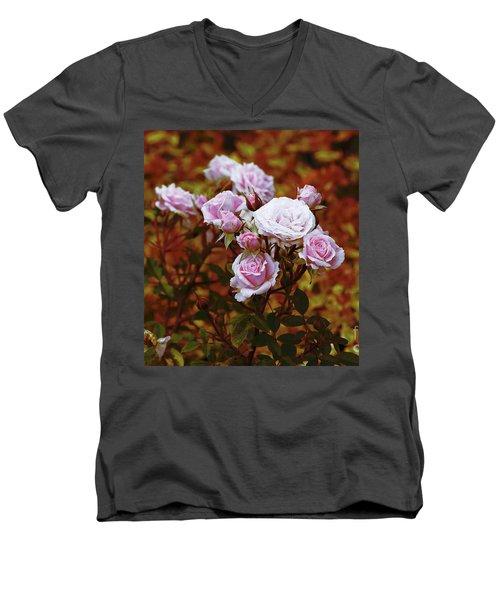 Rusty Romance In Pink Men's V-Neck T-Shirt