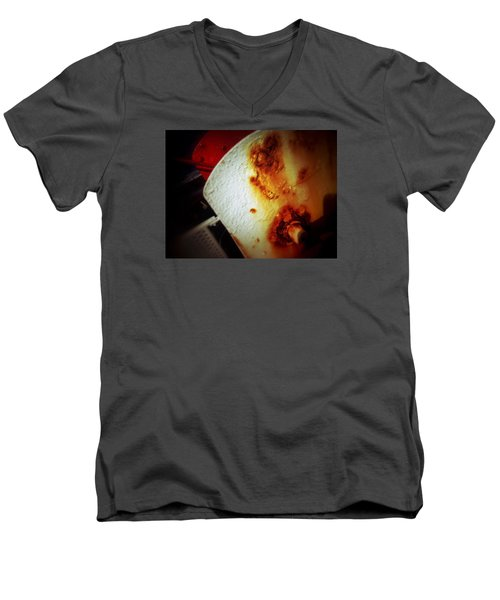 Men's V-Neck T-Shirt featuring the photograph Rusty Winch by Olivier Calas