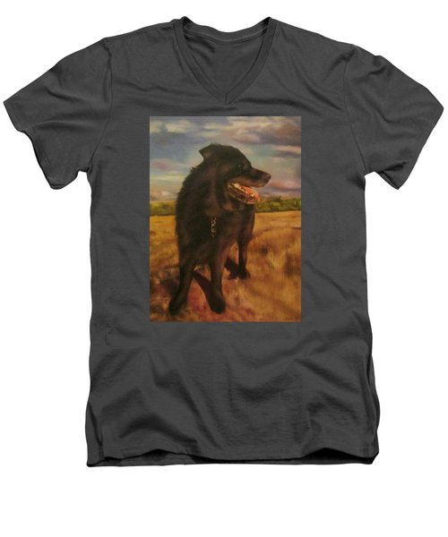 Men's V-Neck T-Shirt featuring the painting Ruudi by Cherise Foster