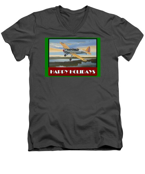 Men's V-Neck T-Shirt featuring the digital art Ryan Pt-22 Happy Holidays by Stuart Swartz