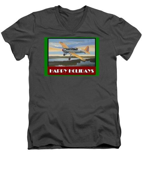 Ryan Pt-22 Happy Holidays Men's V-Neck T-Shirt by Stuart Swartz