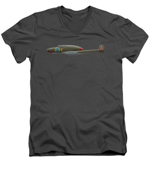 Saab J21 A - Prototype - Side Profile View Men's V-Neck T-Shirt