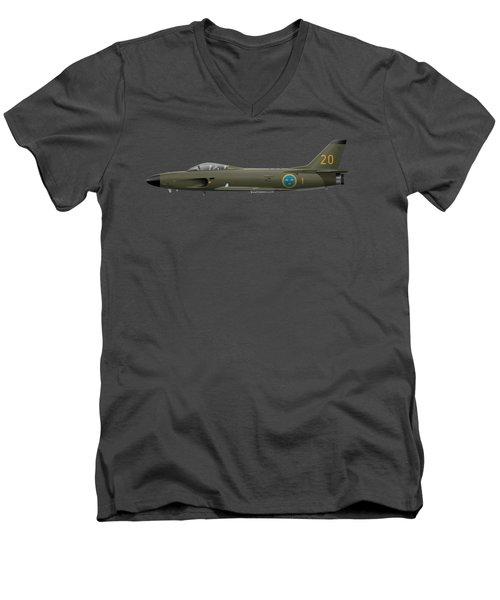 Saab J32e Lansen - 32620 - Side Profile View Men's V-Neck T-Shirt