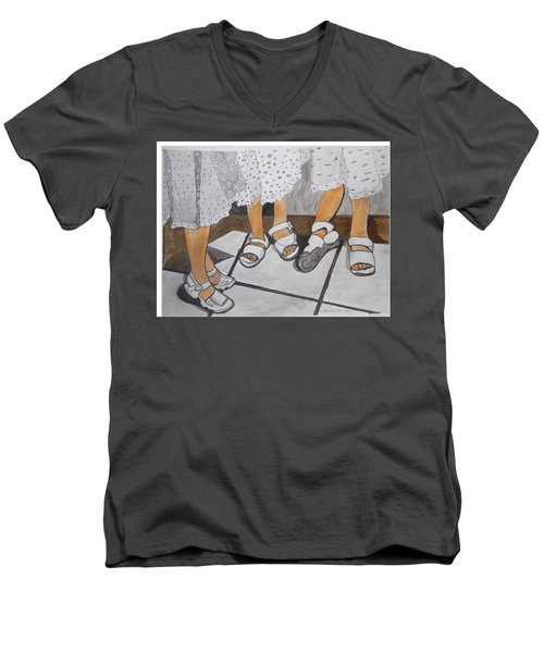 Men's V-Neck T-Shirt featuring the painting Sabbath Sandals by Esther Newman-Cohen