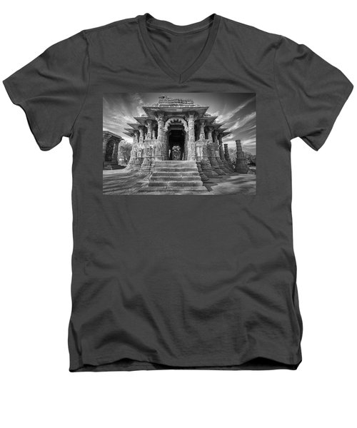 Men's V-Neck T-Shirt featuring the photograph Sabhamandapa, Modhera, 2008 by Hitendra SINKAR