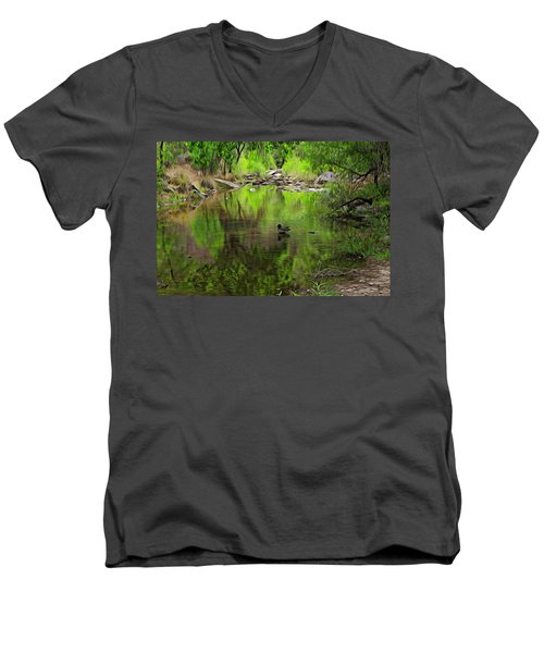 Men's V-Neck T-Shirt featuring the photograph Sabino Reflection Op53 by Mark Myhaver