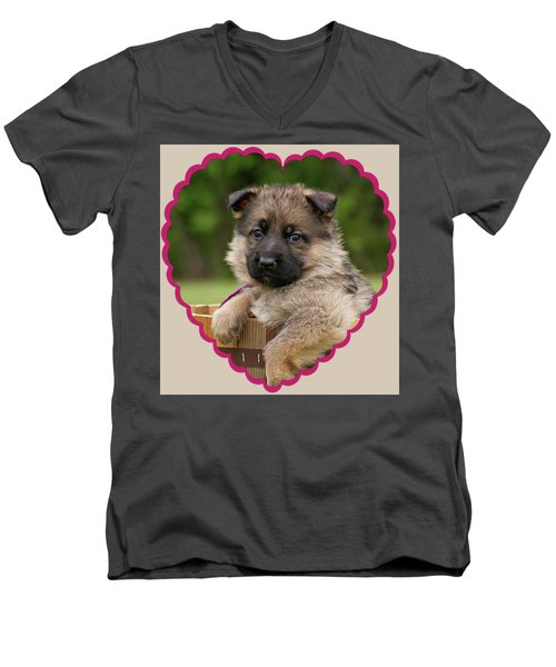 Men's V-Neck T-Shirt featuring the photograph Sable Puppy In Heart by Sandy Keeton