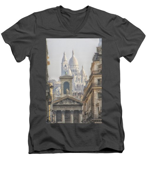 Sacre-coeur  Men's V-Neck T-Shirt by Catherine Alfidi