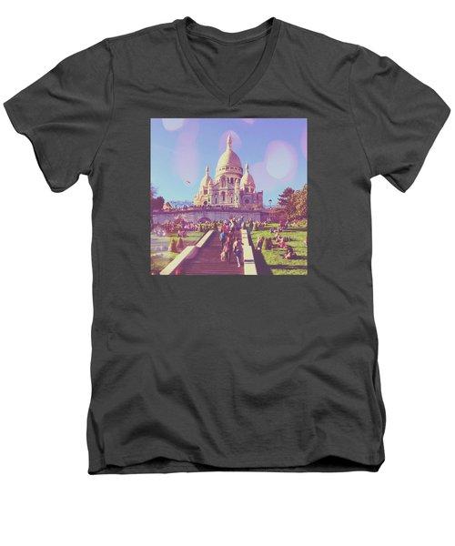 Sacre-coeur In Summer Men's V-Neck T-Shirt