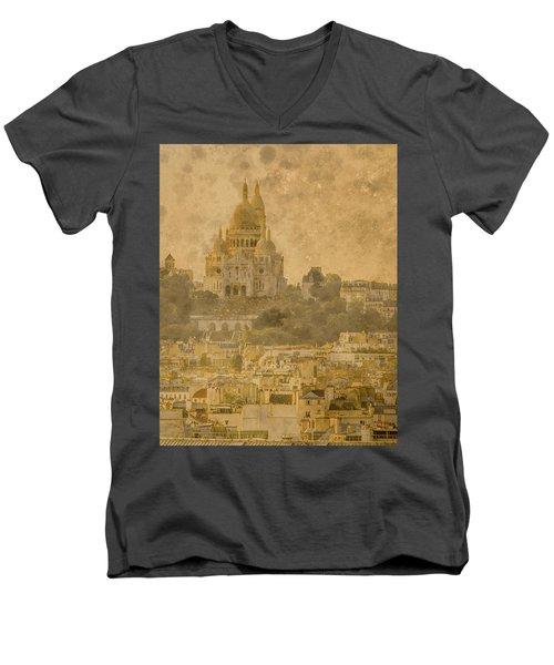 Paris, France - Sacre-coeur Oldplate Men's V-Neck T-Shirt