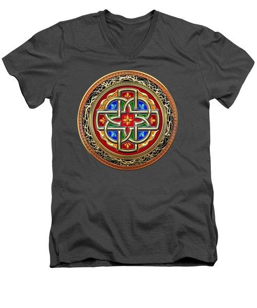 Sacred Celtic Cross On Green Men's V-Neck T-Shirt