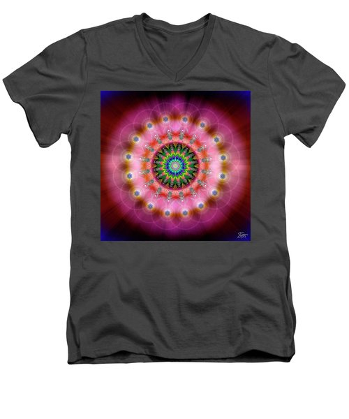 Sacred Geometry 644 Men's V-Neck T-Shirt by Endre Balogh