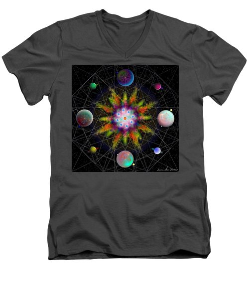Sacred Planetary Geometry - Dark Red Atom Men's V-Neck T-Shirt by Iowan Stone-Flowers