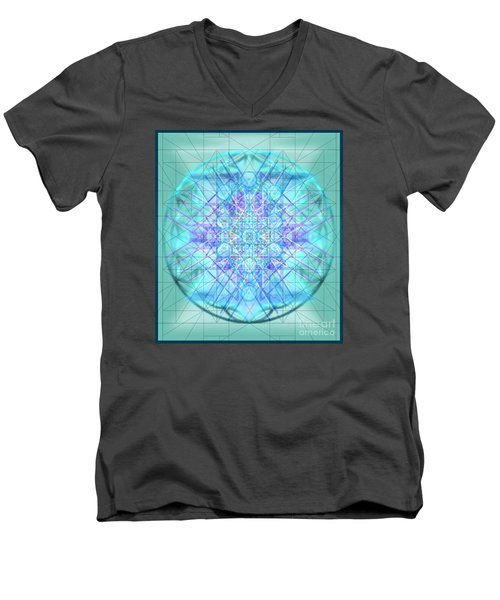 Men's V-Neck T-Shirt featuring the digital art Sacred Symbols Out Of The Void 3b1 by Christopher Pringer