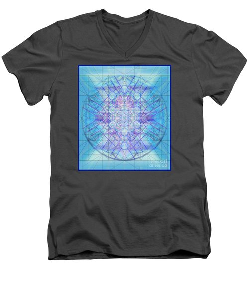 Men's V-Neck T-Shirt featuring the digital art Sacred Symbols Out Of The Void A3c by Christopher Pringer