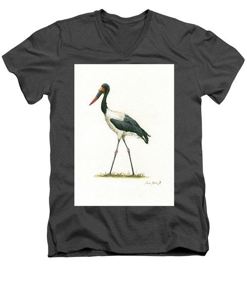 Saddle Billed Stork Men's V-Neck T-Shirt