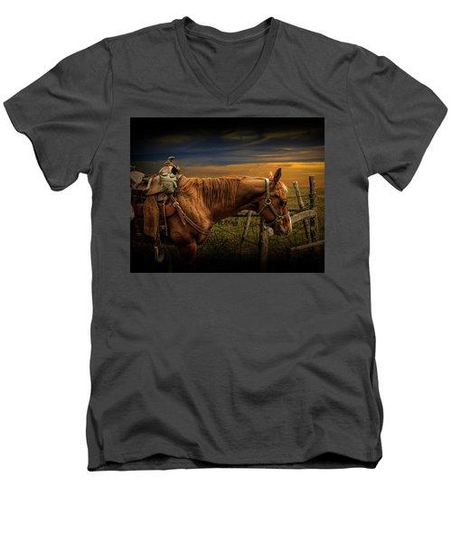 Saddle Horse On The Prairie Men's V-Neck T-Shirt