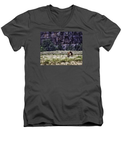 Safe In The Valley Men's V-Neck T-Shirt by Elizabeth Eldridge