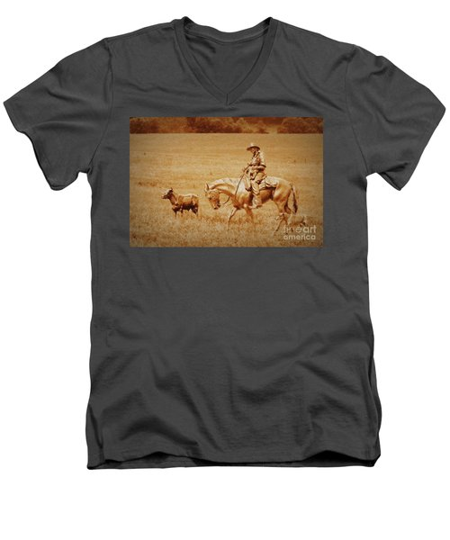 Men's V-Neck T-Shirt featuring the photograph Safely Home by Myrna Bradshaw