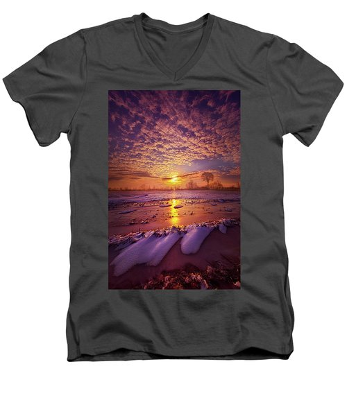 Men's V-Neck T-Shirt featuring the photograph Safely Secluded In A Far Away Land by Phil Koch