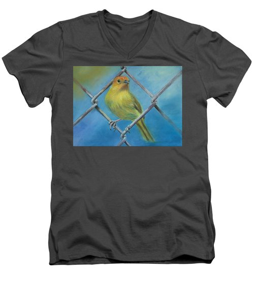 Men's V-Neck T-Shirt featuring the painting Safron Finch by Ceci Watson