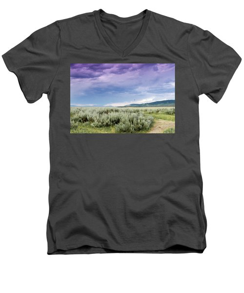 Men's V-Neck T-Shirt featuring the photograph Sage Fields  by Dawn Romine