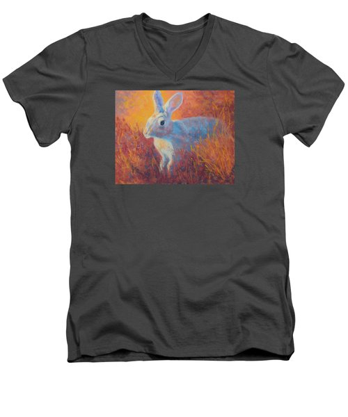 Sage Hare Men's V-Neck T-Shirt by Nancy Jolley