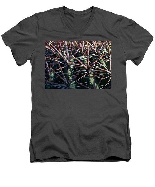 Men's V-Neck T-Shirt featuring the photograph Saguaro Grid by Carolina Liechtenstein