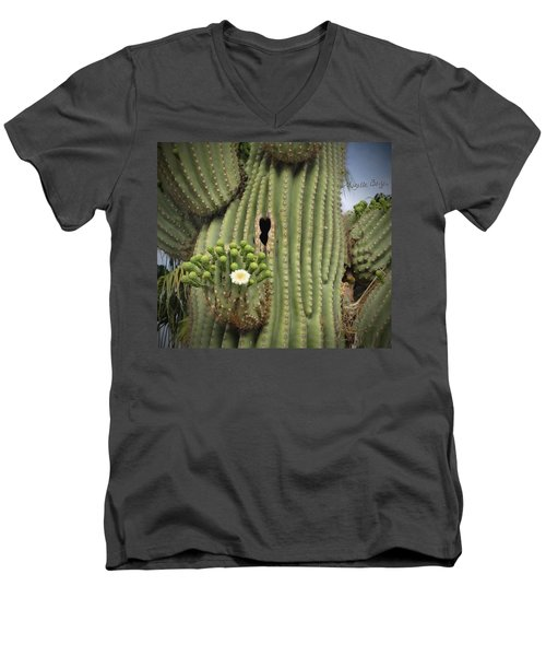 Saguaro In Bloom Men's V-Neck T-Shirt