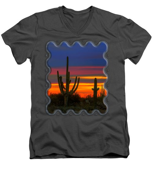 Saguaro Sunset V30 Men's V-Neck T-Shirt by Mark Myhaver