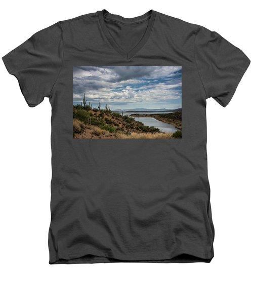 Men's V-Neck T-Shirt featuring the photograph Saguaro With A Lake View  by Saija Lehtonen