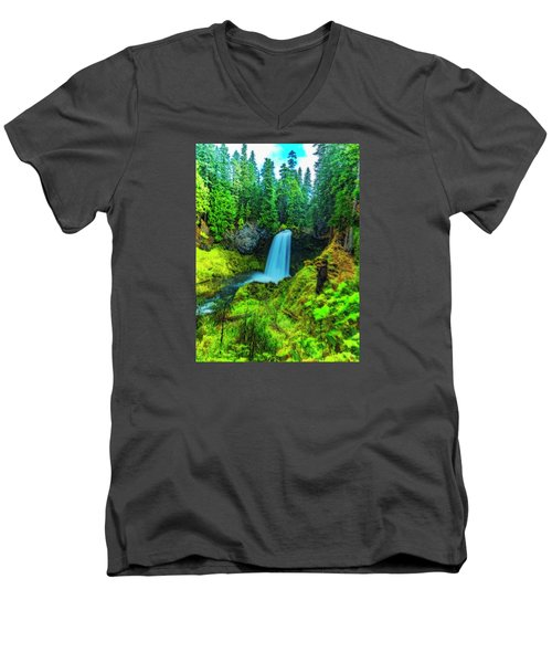 Men's V-Neck T-Shirt featuring the photograph Koosa Falls, Oregon by Nancy Marie Ricketts
