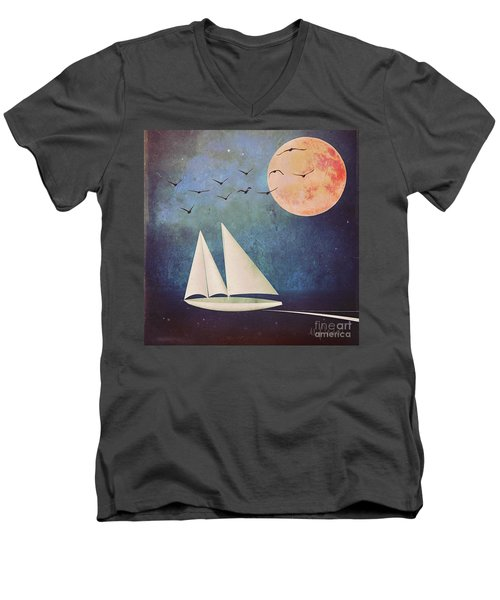 Men's V-Neck T-Shirt featuring the digital art Sail Away by Alexis Rotella
