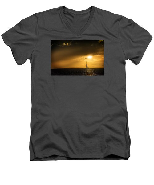 Men's V-Neck T-Shirt featuring the photograph Sail Away Maui by Janis Knight