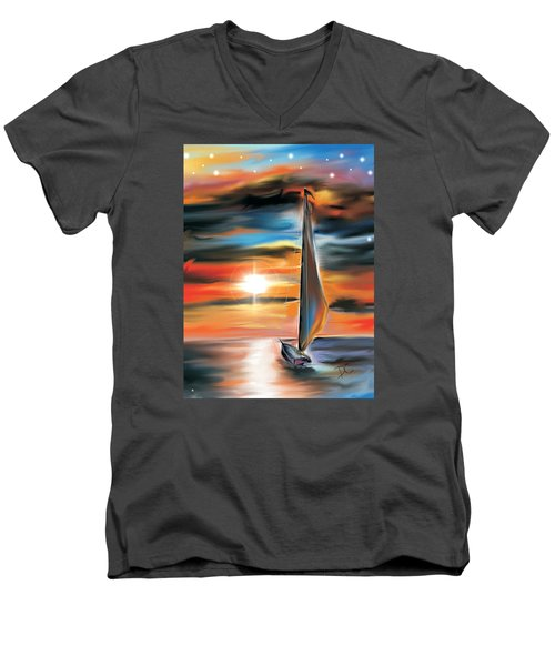 Sailboat And Sunset Men's V-Neck T-Shirt by Darren Cannell