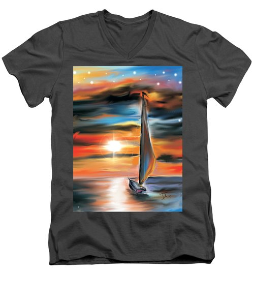 Sailboat And Sunset Men's V-Neck T-Shirt
