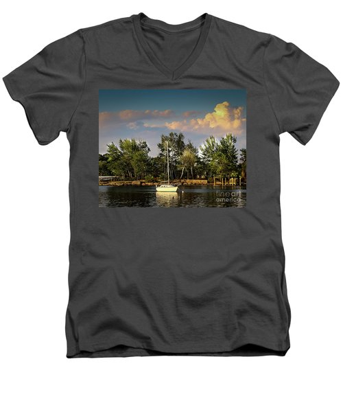 Sailboat In The Bay Men's V-Neck T-Shirt