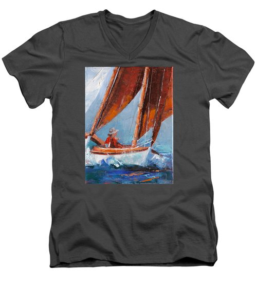 Sailboat Therapy Men's V-Neck T-Shirt by Trina Teele