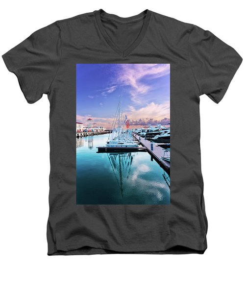 sailboats and yachts in the roads of the main sea channel of the Sochi seaport Men's V-Neck T-Shirt